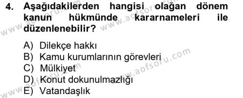 Yerel Yönetimler Bölümü 4. Yarıyıl İdare Hukuku Dersi 2013 Yılı Bahar Dönemi Dönem Sonu Sınavı 4. Soru