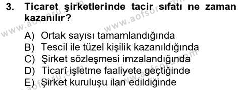 Ticaret Hukuku 1 Dersi 2012 - 2013 Yılı (Final) Dönem Sonu Sınav Soruları 3. Soru