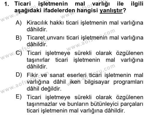 Ticaret Hukuku 1 Dersi 2015 - 2016 Yılı Ara Sınavı 1. Soru