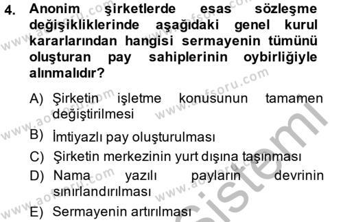 Ticaret Hukuku 2 Dersi 2013 - 2014 Yılı Dönem Sonu Sınavı 4. Soru