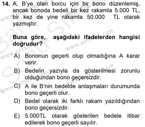 Ticaret Hukuku 2 Dersi Dönem Sonu Sınavı Deneme Sınav Soruları 14. Soru