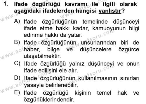 Medya ve İletişim Bölümü 3. Yarıyıl Medya Hukuku Dersi 2013 Yılı Güz Dönemi Ara Sınavı 1. Soru