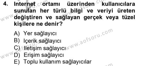 Halkla İlişkiler ve Reklamcılık Bölümü 7. Yarıyıl Medya Hukuku Dersi 2013 Yılı Güz Dönemi Ara Sınavı 4. Soru