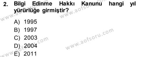 Halkla İlişkiler ve Reklamcılık Bölümü 7. Yarıyıl Medya Hukuku Dersi 2014 Yılı Güz Dönemi Ara Sınavı 2. Soru