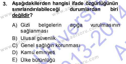 Halkla İlişkiler ve Reklamcılık Bölümü 7. Yarıyıl Medya Hukuku Dersi 2014 Yılı Güz Dönemi Ara Sınavı 3. Soru