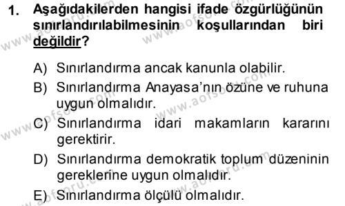 Medya ve İletişim Bölümü 3. Yarıyıl Medya Hukuku Dersi 2014 Yılı Güz Dönemi Dönem Sonu Sınavı 1. Soru