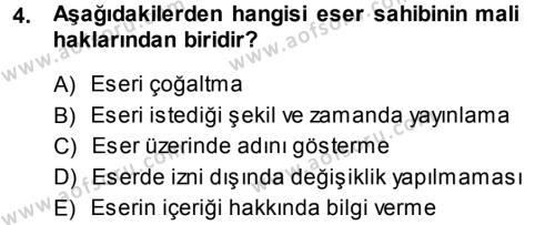 Medya ve İletişim Bölümü 3. Yarıyıl Medya Hukuku Dersi 2014 Yılı Güz Dönemi Dönem Sonu Sınavı 4. Soru