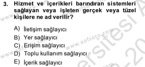 Medya Hukuku Dersi 2013 - 2014 Yılı Tek Ders Sınav Soruları 3. Soru
