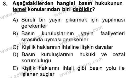 Medya ve İletişim Bölümü 3. Yarıyıl Medya Hukuku Dersi 2015 Yılı Güz Dönemi Ara Sınavı 3. Soru