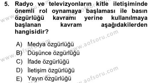 Medya ve İletişim Bölümü 3. Yarıyıl Medya Hukuku Dersi 2016 Yılı Güz Dönemi Ara Sınavı 5. Soru