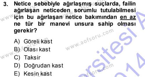 Ceza Hukukuna Giriş Dersi 2013 - 2014 Yılı (Final) Dönem Sonu Sınav Soruları 3. Soru