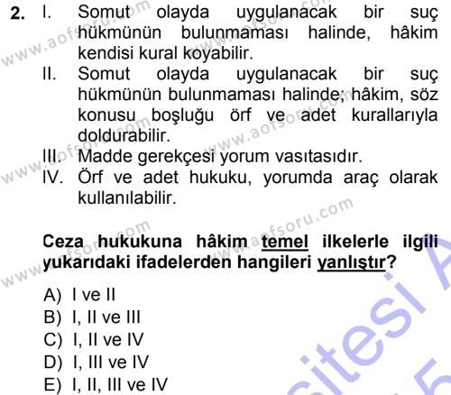 Ceza Hukukuna Giriş Dersi 2014 - 2015 Yılı Ara Sınavı 2. Soru