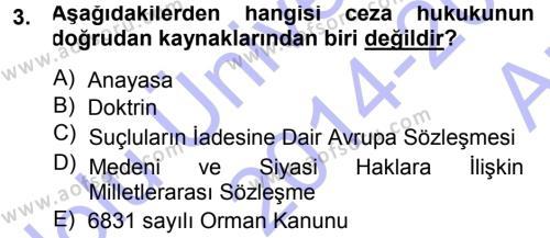 Özel Güvenlik ve Koruma Bölümü 3. Yarıyıl Ceza Hukukuna Giriş Dersi 2015 Yılı Güz Dönemi Ara Sınavı 3. Soru
