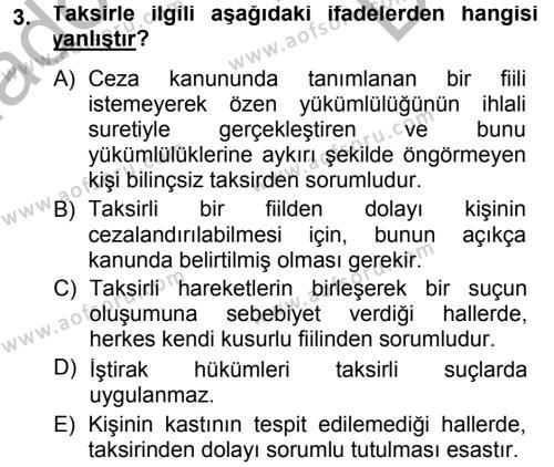 Ceza Hukukuna Giriş Dersi 2014 - 2015 Yılı Dönem Sonu Sınavı 3. Soru
