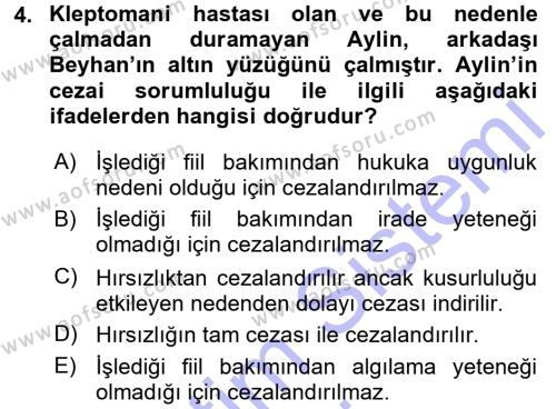 Ceza Hukukuna Giriş Dersi 2015 - 2016 Yılı Dönem Sonu Sınavı 4. Soru