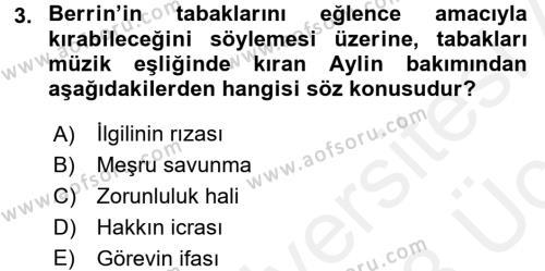 Ceza Hukukuna Giriş Dersi 2017 - 2018 Yılı 3 Ders Sınav Soruları 3. Soru