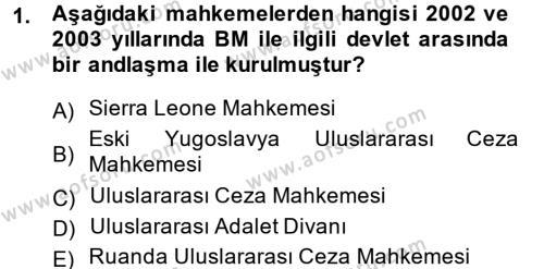 Uluslararası İlişkiler Bölümü 4. Yarıyıl Uluslararası Hukuk II Dersi 2014 Yılı Bahar Dönemi Ara Sınavı 1. Soru