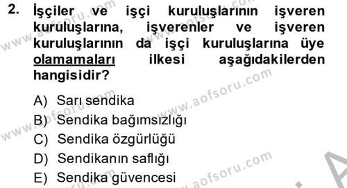 Toplu İş Hukuku Dersi 2013 - 2014 Yılı Ara Sınavı 2. Soru