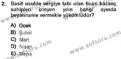 Maliye Bölümü 5. Yarıyıl Özel Vergi Hukuku I Dersi 2013 Yılı Güz Dönemi Tek Ders Sınavı 2. Soru
