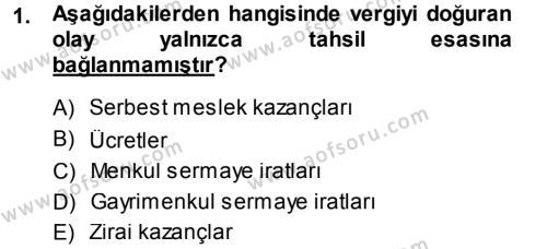 Maliye Bölümü 5. Yarıyıl Özel Vergi Hukuku I Dersi 2014 Yılı Güz Dönemi Ara Sınavı 1. Soru