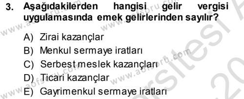 Maliye Bölümü 5. Yarıyıl Özel Vergi Hukuku I Dersi 2014 Yılı Güz Dönemi Tek Ders Sınavı 3. Soru