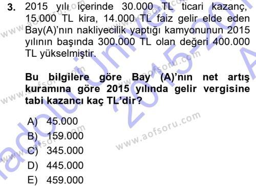 Maliye Bölümü 5. Yarıyıl Özel Vergi Hukuku I Dersi 2016 Yılı Güz Dönemi Ara Sınavı 3. Soru