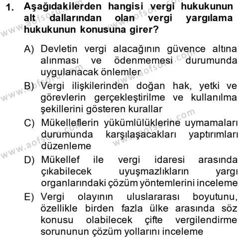 Vergi Hukuku Dersi 2014 - 2015 Yılı Ara Sınavı 1. Soru