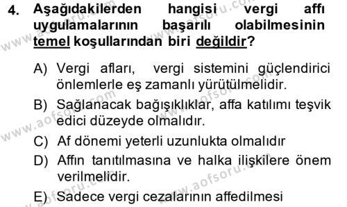 Vergi Hukuku Dersi 2014 - 2015 Yılı (Final) Dönem Sonu Sınav Soruları 4. Soru