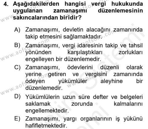 Vergi Hukuku Dersi 2016 - 2017 Yılı (Final) Dönem Sonu Sınav Soruları 4. Soru