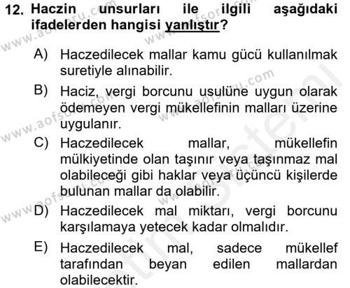 Vergi Hukuku Dersi 3 Ders Sınavı Deneme Sınav Soruları 12. Soru