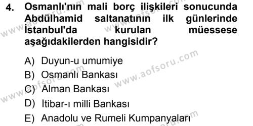 Kamu Yönetimi Bölümü 7. Yarıyıl Türk İdare Tarihi Dersi 2013 Yılı Güz Dönemi Dönem Sonu Sınavı 4. Soru