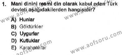 Türk İdare Tarihi Dersi 2012 - 2013 Yılı Tek Ders Sınavı 1. Soru