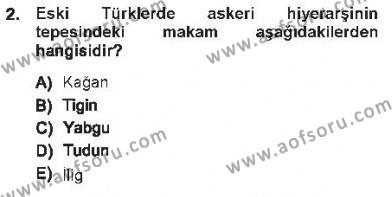 Türk İdare Tarihi Dersi 2012 - 2013 Yılı Tek Ders Sınavı 2. Soru