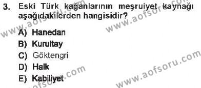 Türk İdare Tarihi Dersi 2012 - 2013 Yılı Tek Ders Sınavı 3. Soru