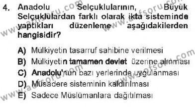 Türk İdare Tarihi Dersi 2012 - 2013 Yılı Tek Ders Sınavı 4. Soru