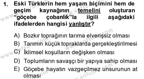 Türk İdare Tarihi Dersi 2013 - 2014 Yılı Dönem Sonu Sınavı 1. Soru