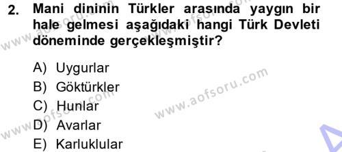Türk İdare Tarihi Dersi 2013 - 2014 Yılı Dönem Sonu Sınavı 2. Soru