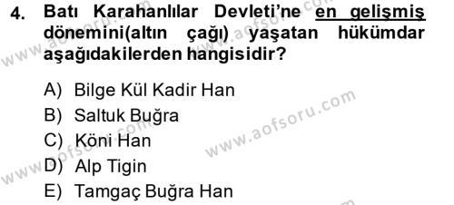 Türk İdare Tarihi Dersi 2013 - 2014 Yılı Dönem Sonu Sınavı 4. Soru