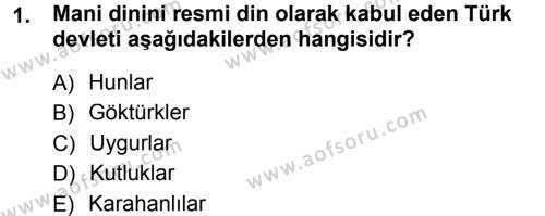 Türk İdare Tarihi Dersi 2013 - 2014 Yılı Tek Ders Sınavı 1. Soru