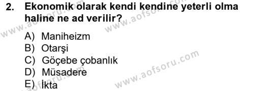 Türk İdare Tarihi Dersi 2013 - 2014 Yılı Tek Ders Sınavı 2. Soru
