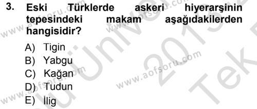 Türk İdare Tarihi Dersi 2013 - 2014 Yılı Tek Ders Sınavı 3. Soru