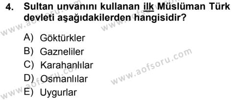 Türk İdare Tarihi Dersi 2013 - 2014 Yılı Tek Ders Sınavı 4. Soru