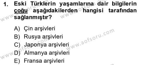 Türk İdare Tarihi Dersi 2014 - 2015 Yılı (Vize) Ara Sınav Soruları 1. Soru