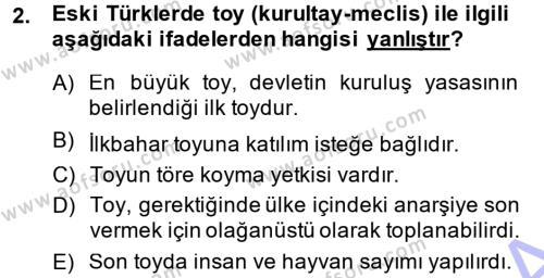Türk İdare Tarihi Dersi 2014 - 2015 Yılı (Vize) Ara Sınav Soruları 2. Soru