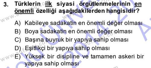 Türk İdare Tarihi Dersi 2014 - 2015 Yılı (Vize) Ara Sınav Soruları 3. Soru