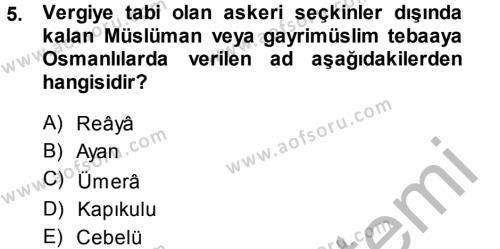 Kamu Yönetimi Bölümü 7. Yarıyıl Türk İdare Tarihi Dersi 2015 Yılı Güz Dönemi Dönem Sonu Sınavı 5. Soru