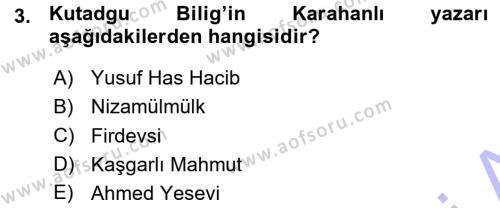 Türk İdare Tarihi Dersi 2015 - 2016 Yılı (Vize) Ara Sınav Soruları 3. Soru