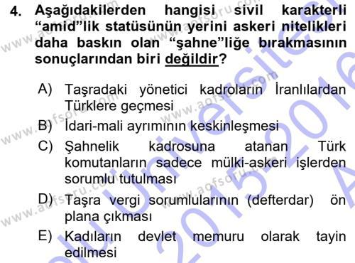 Kamu Yönetimi Bölümü 7. Yarıyıl Türk İdare Tarihi Dersi 2016 Yılı Güz Dönemi Ara Sınavı 4. Soru