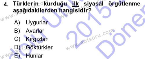 Türk İdare Tarihi Dersi 2015 - 2016 Yılı Dönem Sonu Sınavı 4. Soru