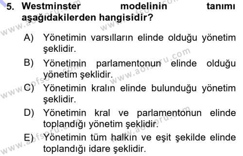 Kamu Yönetimi Bölümü 7. Yarıyıl Türk İdare Tarihi Dersi 2016 Yılı Güz Dönemi Dönem Sonu Sınavı 5. Soru